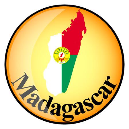 Orangefarbenen Button mit den Image-Maps von Madagaskar in Form von Nationalflagge Standard-Bild - 38284223
