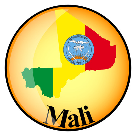 mali: orange button with the image maps of Mali in the form of national flag Illustration