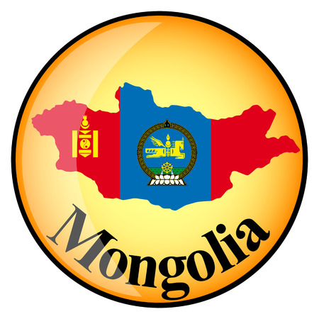 mongolia: orange button with the image maps of Mongolia in the form of national flag