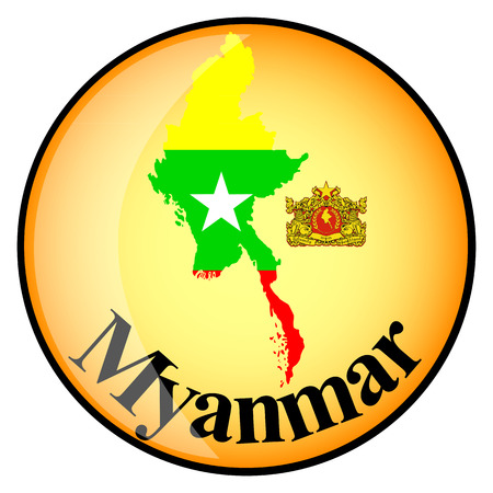 myanmar: orange button with the image maps of Myanmar in the form of national flag