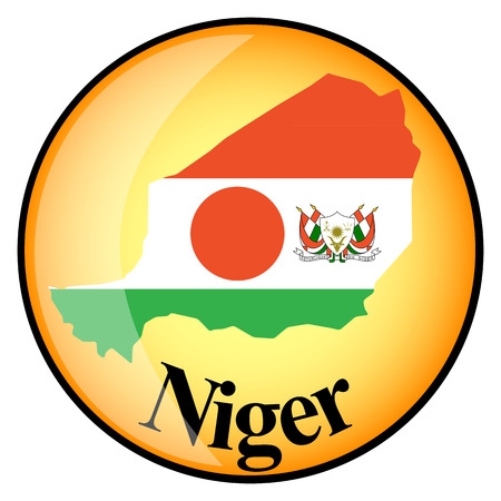 niger: orange button with the image maps of Niger in the form of national flag