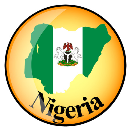nigeria: orange button with the image maps of Nigeria in the form of national flag Illustration