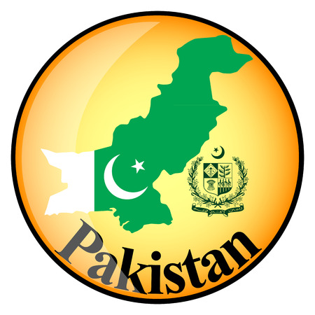 pakistan flag: orange button with the image maps of Pakistan in the form of national flag