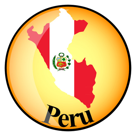 mapa del peru: botón de color naranja con los mapas de imagen del Perú en forma de bandera nacional Vectores