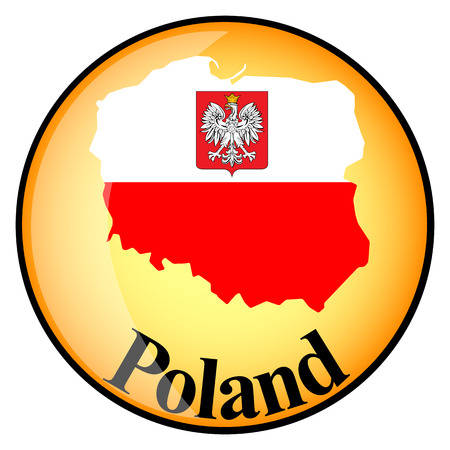 poland flag: orange button with the image maps of Poland in the form of national flag
