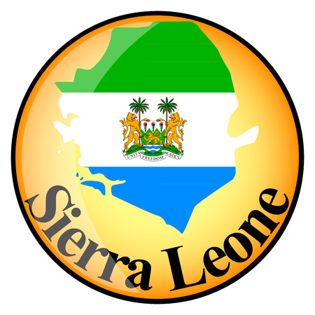sierra: orange button with the image maps of button Sierra Leone in the form of national flag