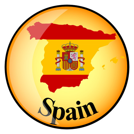 spain flag: orange button with the image maps of Spain in the form of national flag