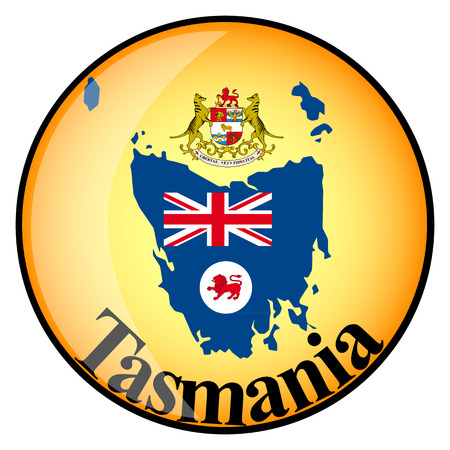 tasmania: orange button with the image maps of Tasmania in the form of national flag