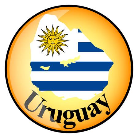 bandera de uruguay: botón de color naranja con los mapas de imagen de Uruguay en forma de bandera nacional Vectores
