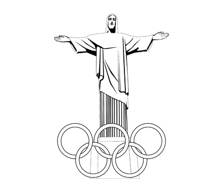 black jesus: black and white drawing of the statue of Jesus with rings on a white background