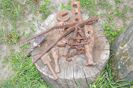 multiple objects: old rusty Bits tools lying on the cracked stump