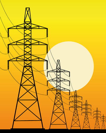 high-voltage line on an orange background with the sun Illustration