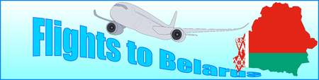 Banner with the inscription Flight to Belarus on a blue background.