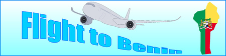Banner with the inscription Flight to Benin on a blue background. Illustration