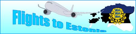 青い背景にエストニアへの碑文フライトとバナー。