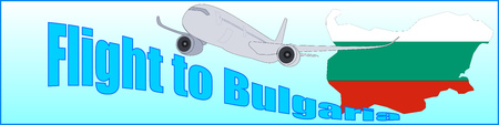 Banner with the inscription Flight to Bulgaria on a blue background.