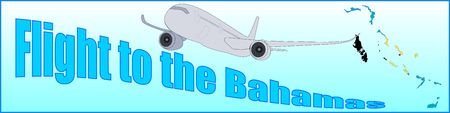 Banner with the inscription Flight to the Bahamas on a blue background.