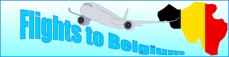Banner with the inscription Flights to Belgium on a blue background.