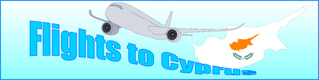 Banner with the inscription Flights to Cyprus on a blue background.