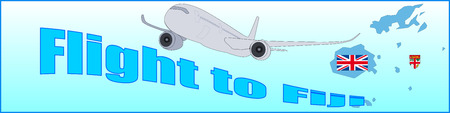Banner with the inscription flight to Fiji on a blue background. Illustration