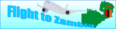 Banner with the inscription Flight to Zambia on a blue background