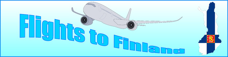 Banner with the inscription Flights to Finland on a blue background Illustration