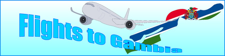 Banner with the inscription Flights to Gambia on a blue background