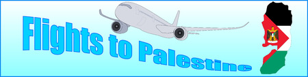 Banner with the inscription Flights to Palestine on a blue background