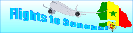 Banner with the inscription Flights to Senegal on a blue background Illustration