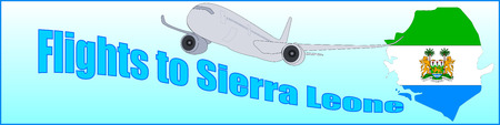 Banner with the inscription Flights to Sierra Leone on a blue background