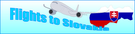 Banner with the inscription Flights to Slovakia on a blue background Illustration