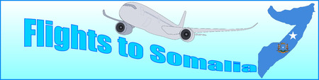 Banner with the inscription Flights to Somalia on a blue background