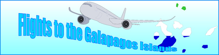 Banner with the inscription Flights to the Galapagos Islands on a blue background