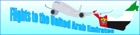 Banner with the inscription Flights to the United Arab Emirates on a blue background