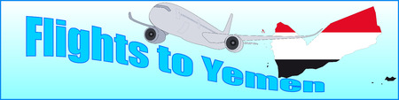 Banner with the inscription Flights to Yemen on a blue background Illustration