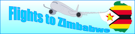 Banner with the inscription Flights to Zimbabwe on a blue background