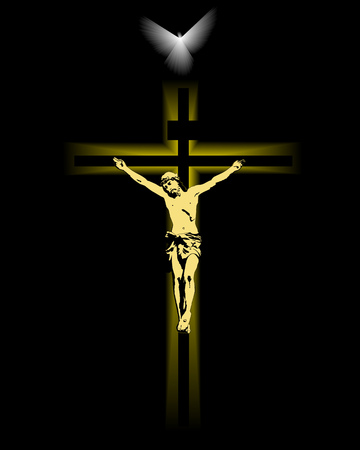 Jesus crucified on a cross on a black background