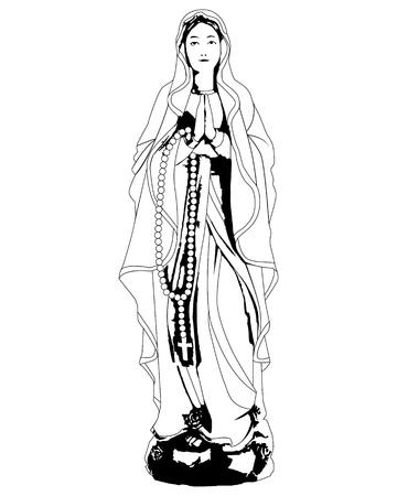 dessin de la Vierge Marie en prière sur fond blanc