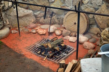 outdoor barbecue with stone