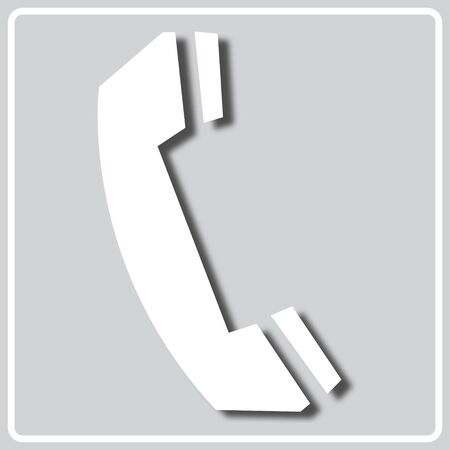 gray square icon with white silhouette of a phone sign