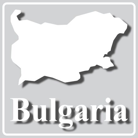 gray square icon with white map silhouette and inscription Bulgaria