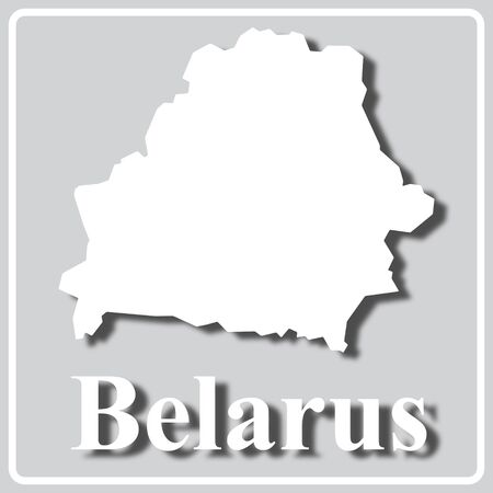 gray square icon with white map silhouette and inscription Belarus