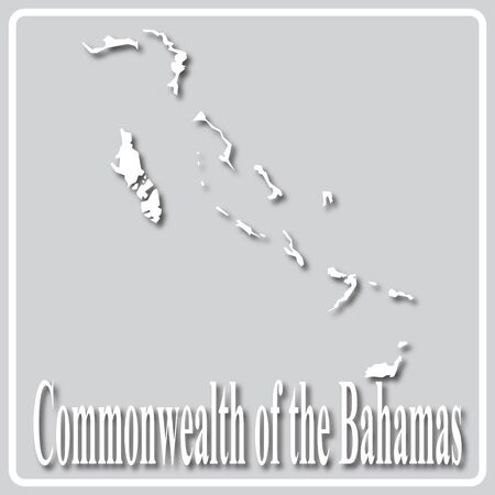 gray square icon with white map silhouette and inscription Commonwealth of the Bahamas Ilustração
