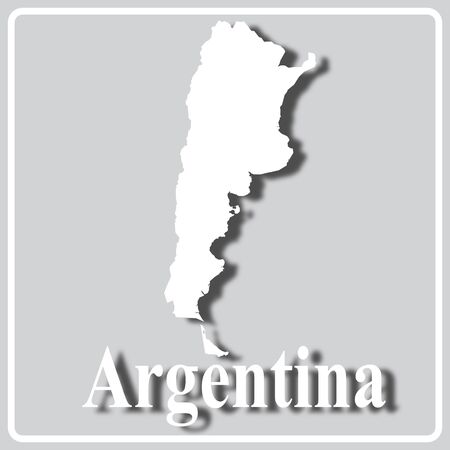 gray square icon with white map silhouette and inscription Argentina