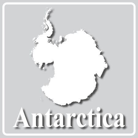 gray square icon with white map silhouette and inscription Antarctica Ilustrace