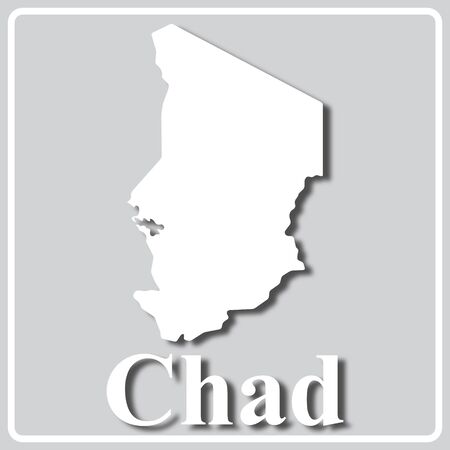 gray square icon with white map silhouette and inscription Chad Ilustração