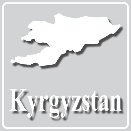 gray square icon with white map silhouette and inscription Kyrgyzstan