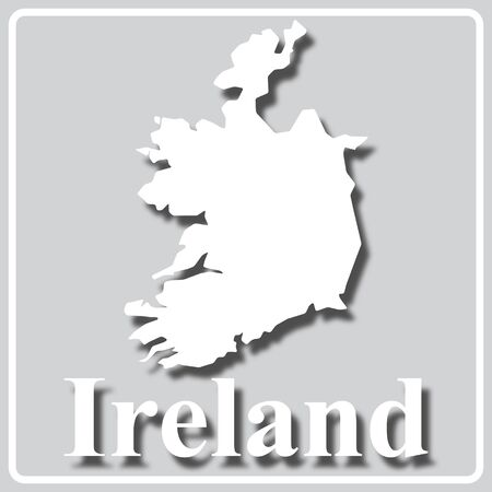gray square icon with white map silhouette and inscription Ireland Ilustração