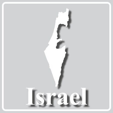 gray square icon with white map silhouette and inscription Israel