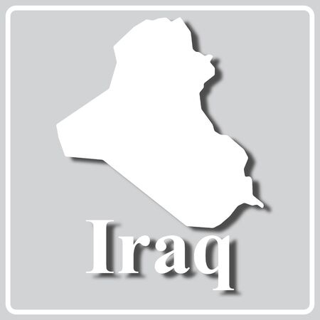 gray square icon with white map silhouette and inscription Iraq